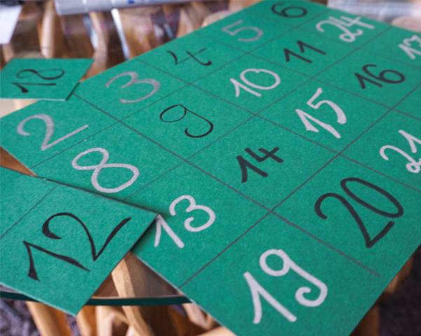 Die Nummern für unseren DIY Adventskalender.