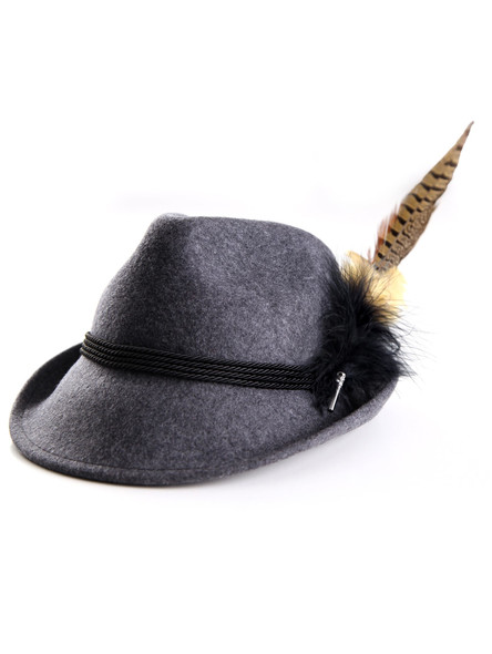 Bavarian hat ladies with feather H7-056 anthrazite