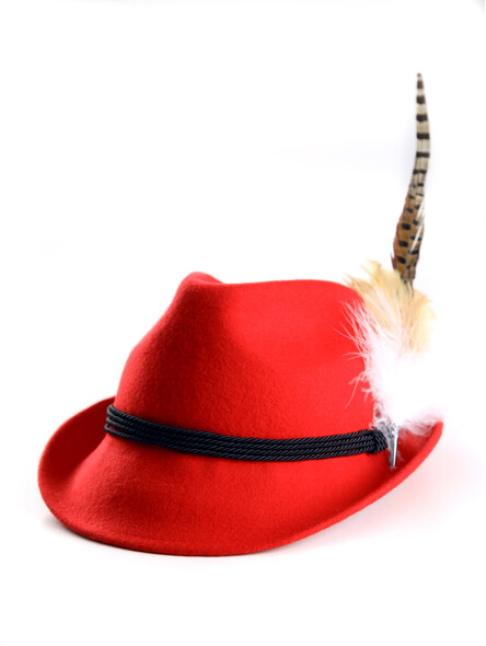 Bavarian hat ladies with feather H8-013 red