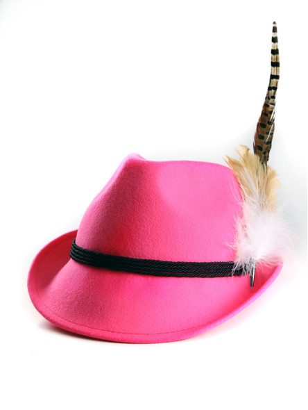 Bavarian hat ladies with feather H9-011 pink