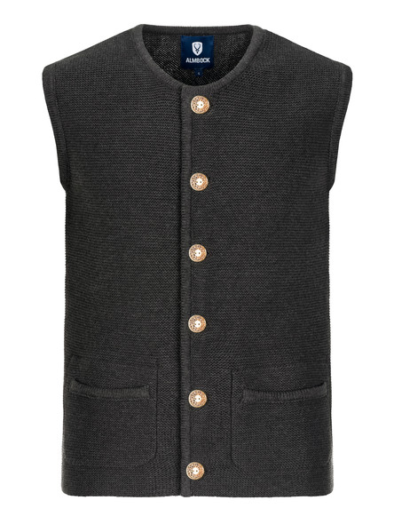 Bavarian knitted vest Hubertus black-anthrazite