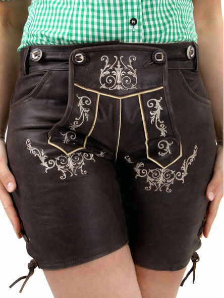 Bavarian ladies lederhosen babette nappa (darkbrown)