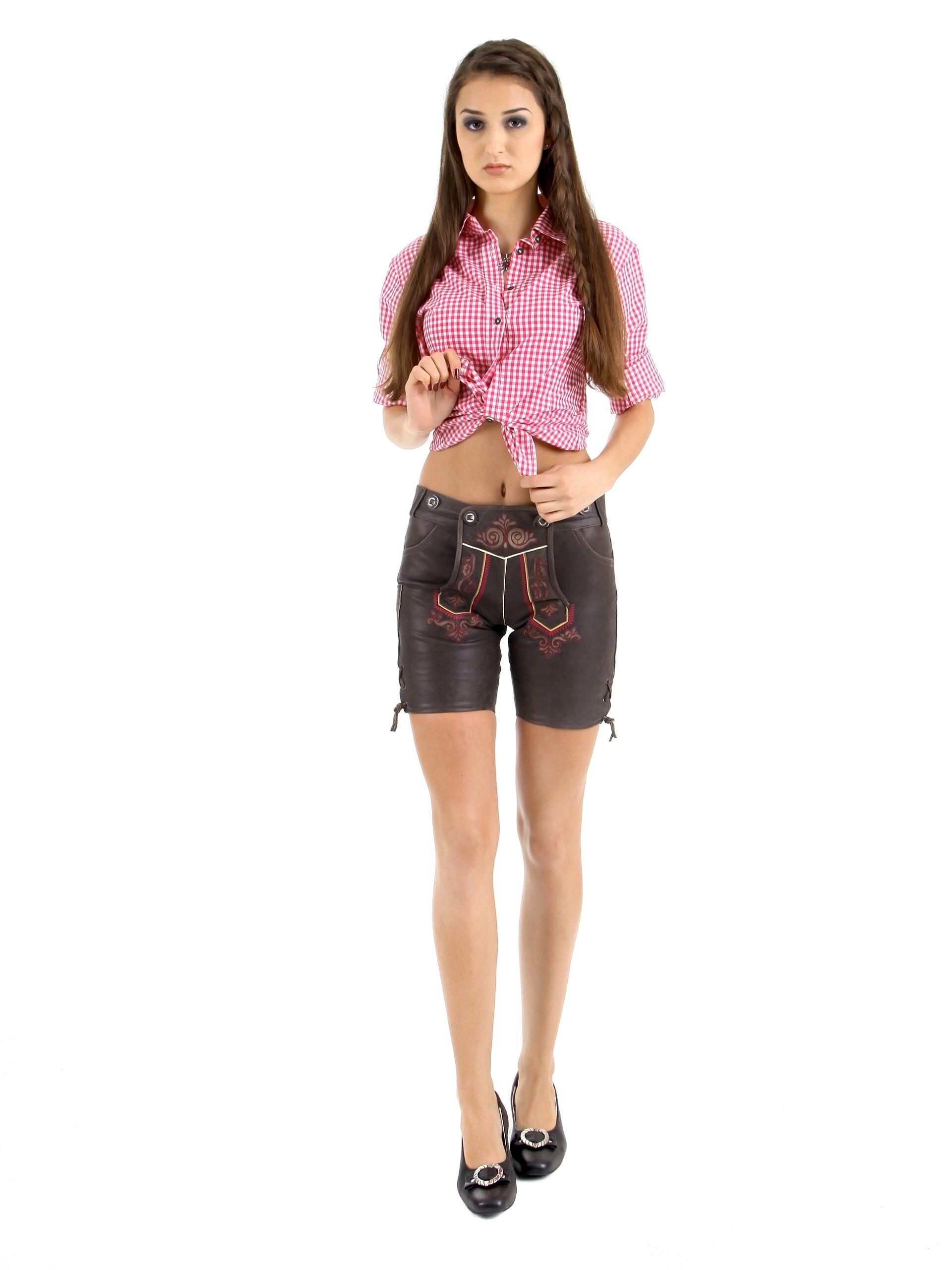 extrem einzigartig Sonderteil riesige Auswahl an Almbock Lederhose Damen Eva mit pinken Stickereien dunkelbraun