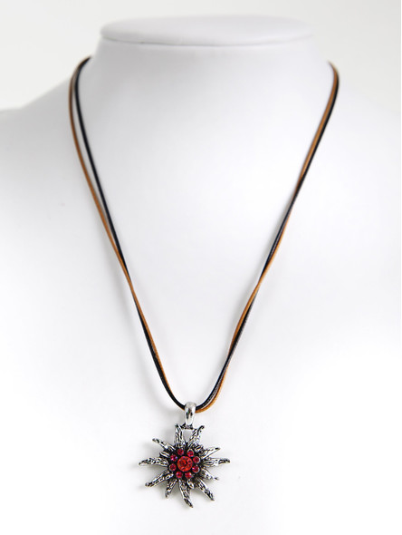 Bavarian necklace edelweiss with rosé stones (K20)