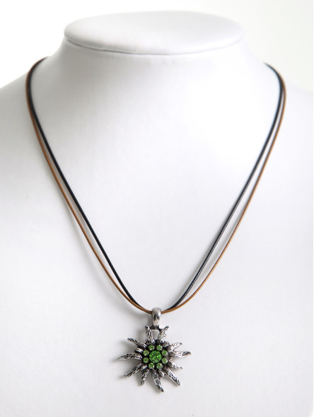 Bavarian necklace edelweiss with smaragd green stones (K21)