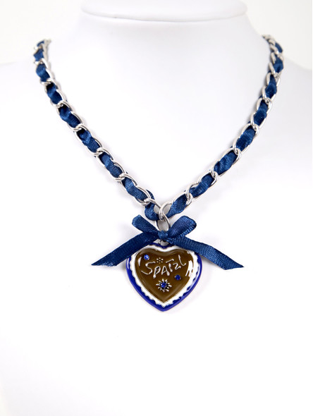 Bavarian necklace blue with Spatzl heart pendandt (K28)