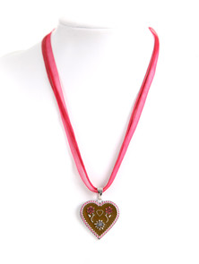 Bavarian heart necklace with flowers and stones pink (K32)