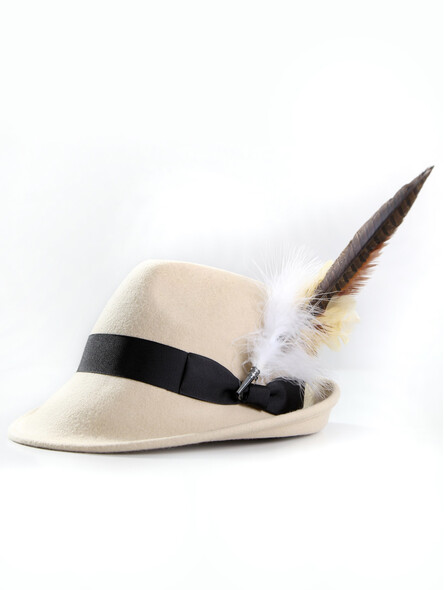 Bavarian hat ladies with feather H10-004 beige