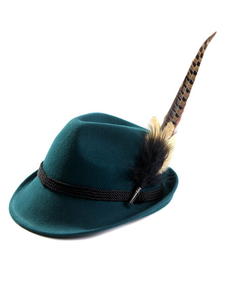 Bavarian hat ladies with feather H11-014 dark turquoise