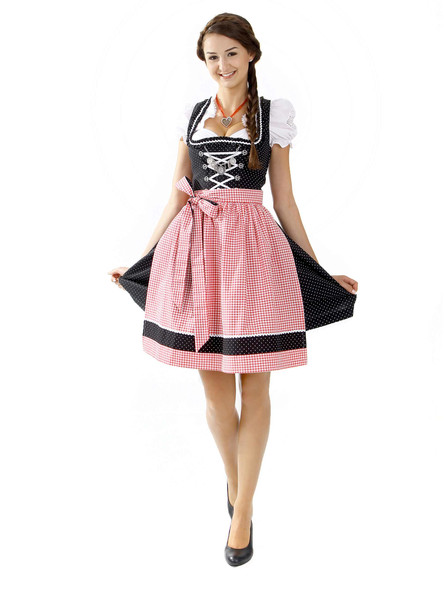 Almbock Mini Dirndl Theresia schwarz-rot (exclusive)
