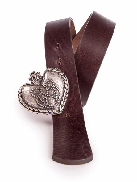 Belt heart with crown antique silver (darkbrown)
