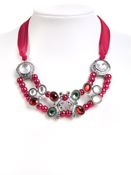 Exclusive collier with beads and stones (K39)