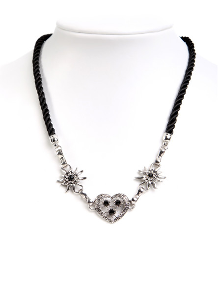 Bavarian necklace edelweiss flowers and heart (K40)