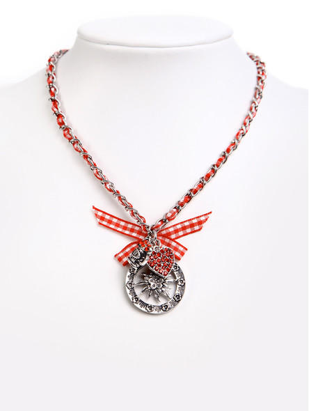 Costume necklace with bavarian pendandts red (K35)