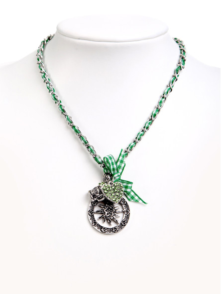 Costume necklace with bavarian pendandts green (K34)