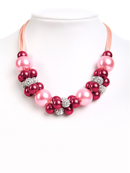 Pearl necklace pink-berry exclusive (K38)