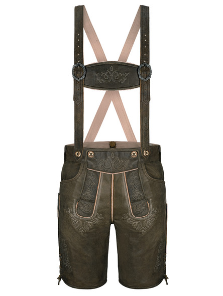 Bavarian lederhosen short Traunstein buffalo (dark brown)