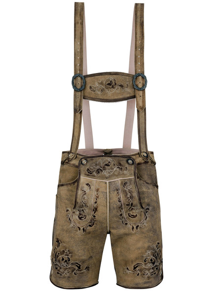 Bavarian lederhosen short Salzach goatskin antique (dark...