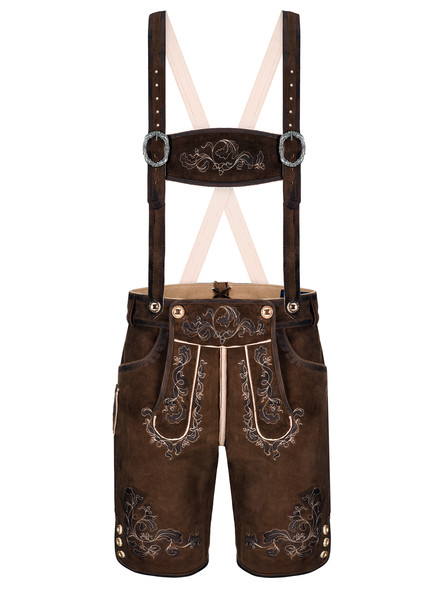 Bavarian lederhosen short goatskin Louis (chocolate brown)