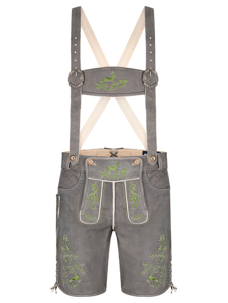 Bavarian lederhosen short Chiemgau goatskin (dark gray)