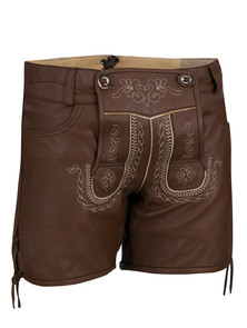Bavarian ladies lederhosen Catalina extra short (chocolate brown)