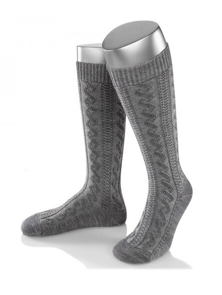 Bavarian socks long merino wool (gray)