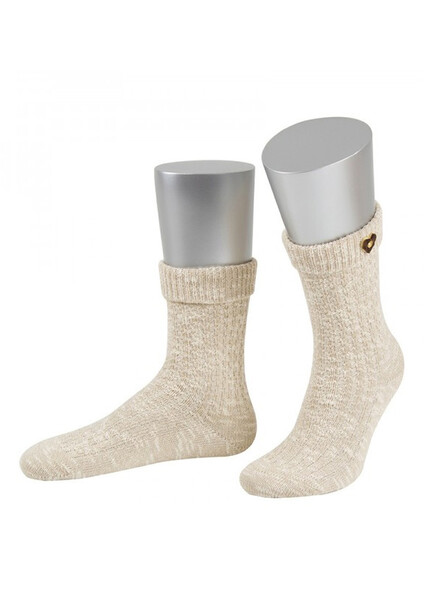 Bavarian socks with heart button of horn (beige)