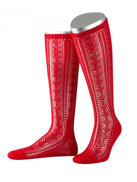 Bavarian stockings Cindy with ajour pattern (red)
