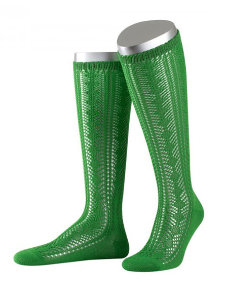 Bavarian stockings Cindy with ajour pattern (green)