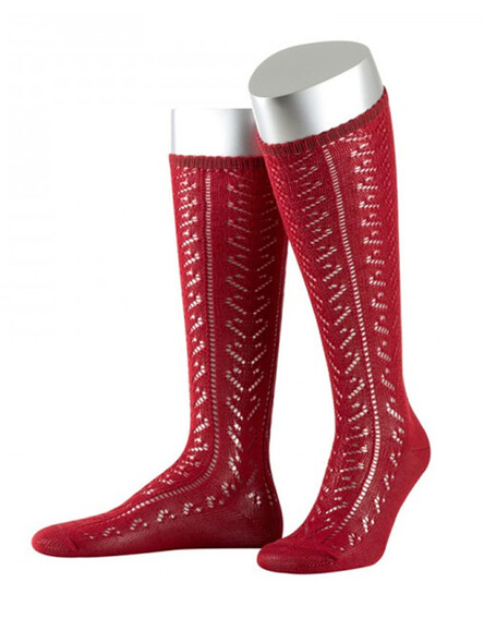 Bavarian stockings Lissy with ajour pattern (bordeaux)