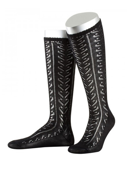 Bavarian stockings Lissy with ajour pattern (black)