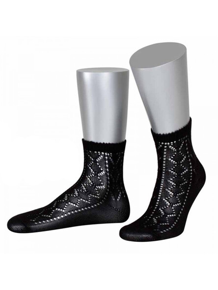 Bavarian socks Nora with ajour pattern (black)