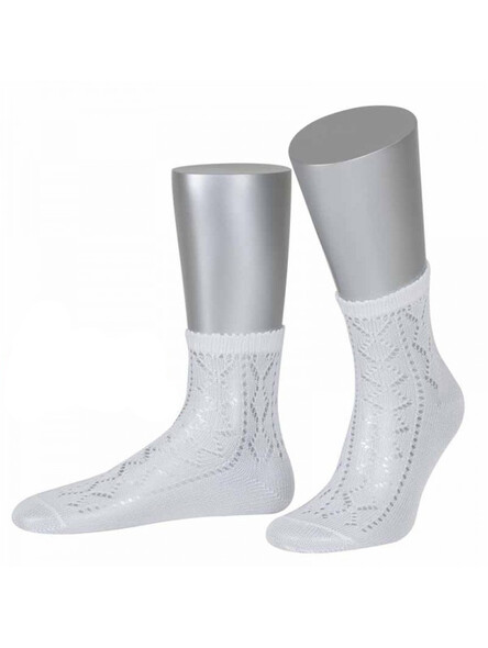 Bavarian socks Nora with ajour pattern (white)