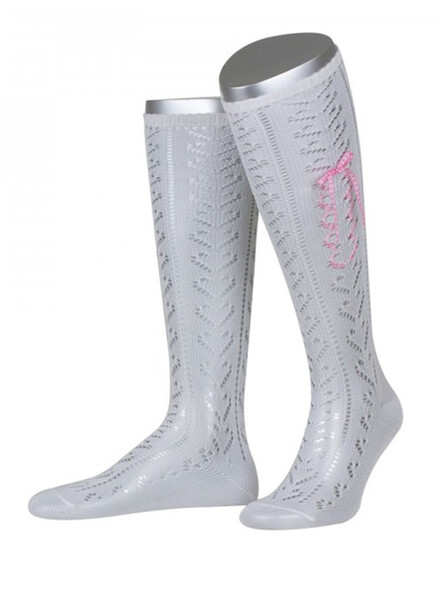 Bavarian stockings Resl with pink-check ribbon (white)