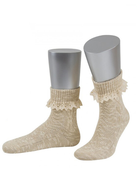 Bavarian socks Lucia with lace (beige)
