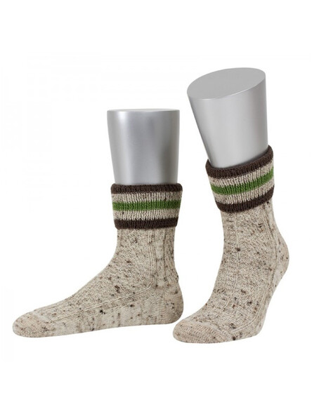 Bavarian stockings short Bert handmade (beige flecked)