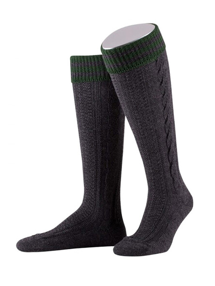 Bavarian stockings Königssee with braid (anthracite)