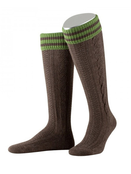 Bavarian stockings Königssee with braid (brown)