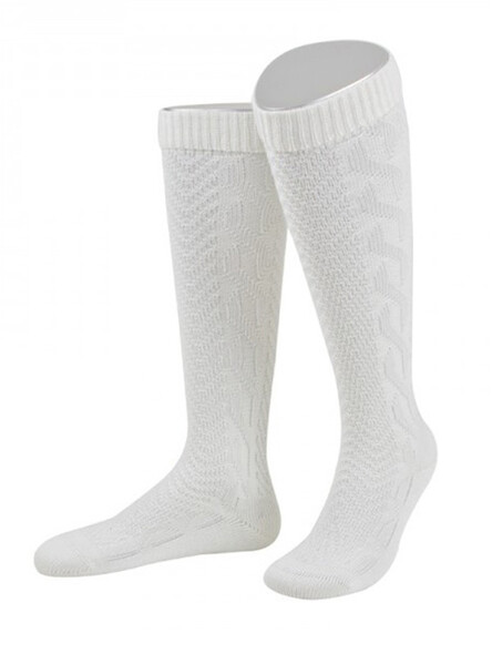 Bavarian socks traditional braids (pure white)