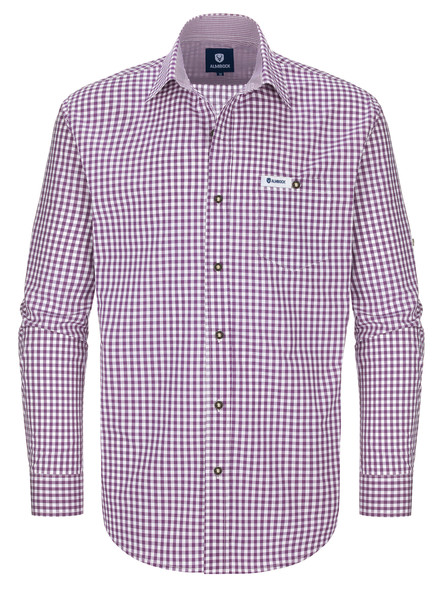 Bavarian shirt Basti (purple-checkered)