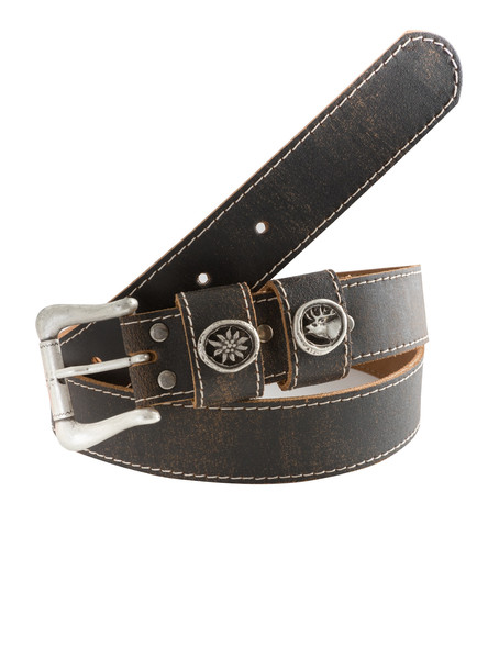 Bavarian belt with stag and edelweiss button (dark brown)