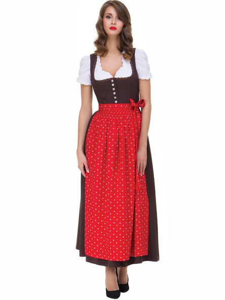 Long Dirndl Elena brown with red apron