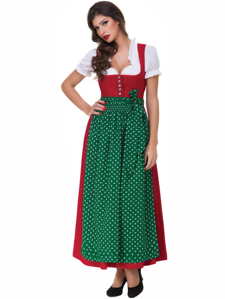 Long Dirndl Lea red with green apron