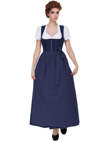 Long Dirndl Hannah dark blue with blue apron