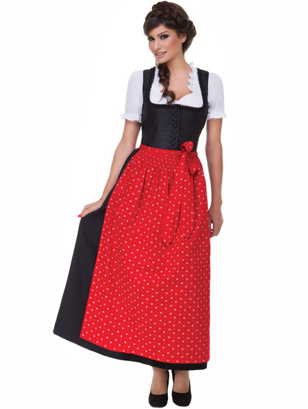 Long Dirndl Uschi black with red apron