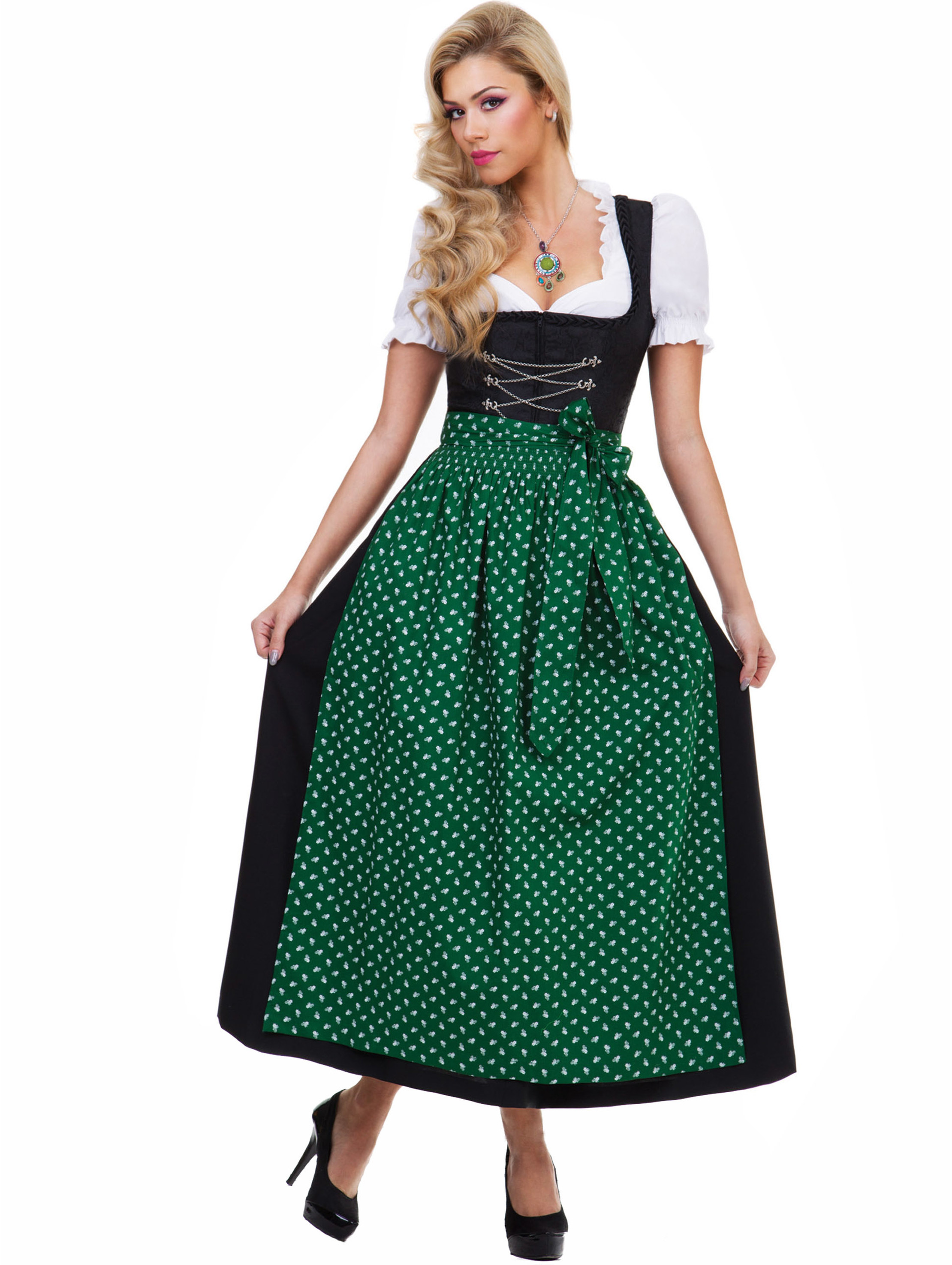 almbock langes dirndl luisa schwarz mit gr ner sch rze trachten24. Black Bedroom Furniture Sets. Home Design Ideas
