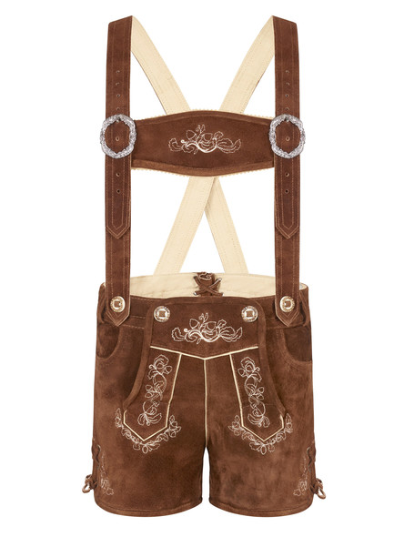 Bavarian lederhosen Anni extra short (medium brown)