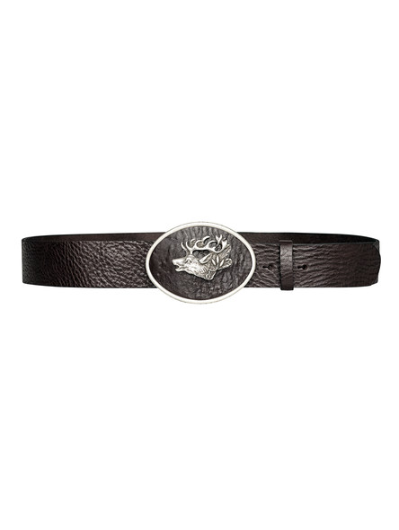 Bavarian deer belt with leather buckle (dark brown)