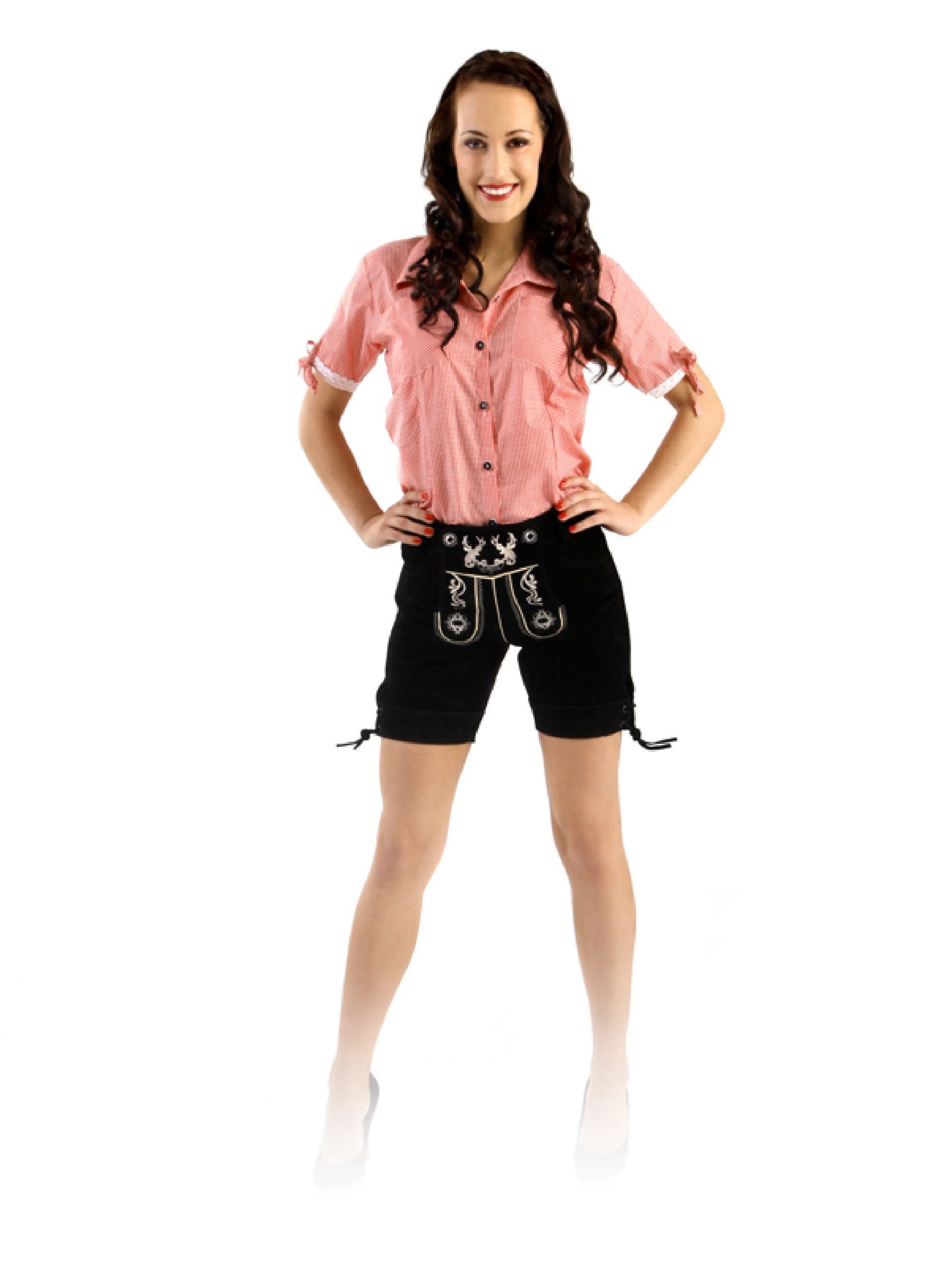Bavarian ladies lederhosen set Betty black (3-piece) with Blouse Jessi  (pink-check) 47c62c0b24