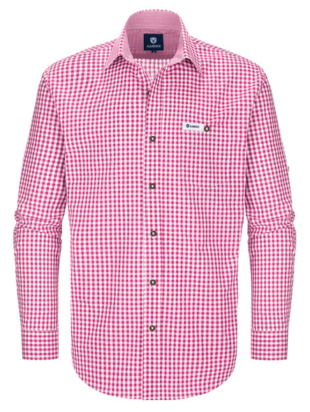 Bavarian shirt Antonius (berry-checkered)